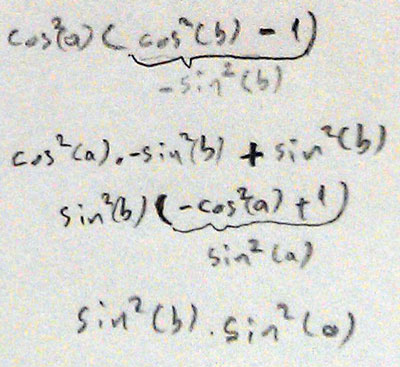 Mathematical proof of cosinus idendity cosinus theorem